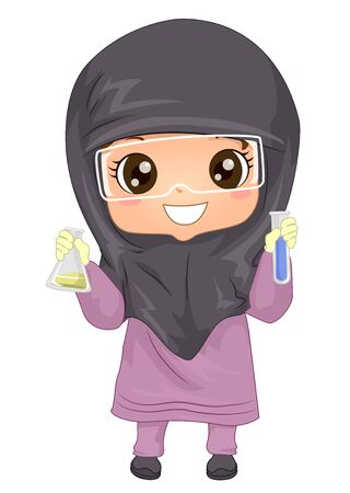 Illustration of a Muslim Kid Girl Wearing Hijab and Laboratory Goggles and Holding Flask and Test Tube with Chemicals