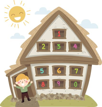 Illustration of a Kid Boy with Peasant Medieval Costume and His House with Numbers on Windows
