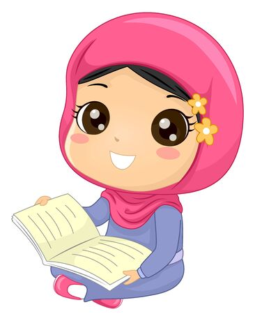 Illustration of a Muslim Kid Girl Wearing Hijab, Sitting Down and Holding an Open Book