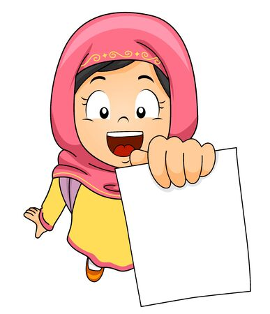 Illustration of a Muslim Kid Girl Student Wearing Hijab and Showing a Blank Test Paper 免版税图像 - 140162053