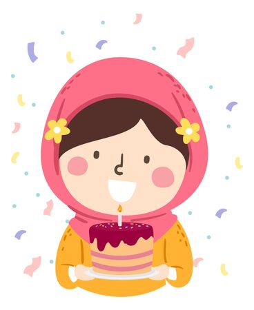 Illustration of a Kid Girl Wearing Hijab and Holding a Birthday Cake with Lighted Candle 免版税图像 - 140162139