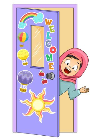 Illustration of a Kid Girl Wearing Hijab Peeking From Inside the Classroom Door Welcoming People 免版税图像 - 140162125