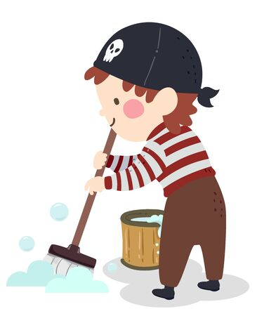 Illustration of a Kid Boy Pirate Mopping and Cleaning the Floor with a Bucket Full of Soapy Water
