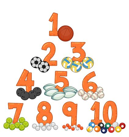 Illustration of Sports Balls and Numbers from One to Ten Zdjęcie Seryjne