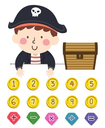 Illustration of a Kid Boy Pirate with a Treasure Chest with Coin Numbers and Jewel Math Operators Reklamní fotografie - 140162114