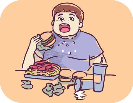 Illustration of a Young Man Eating Burger and Lots of Junk Food on Table Stock Photo