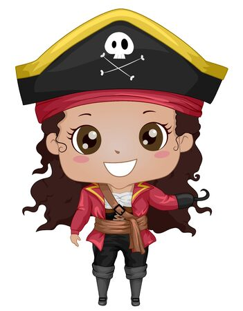 Illustration of an African American Kid Girl Wearing Pirate Costume with Hat and Hook