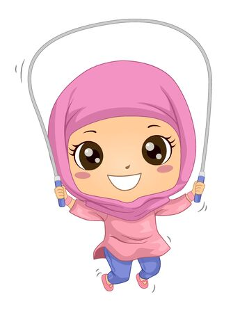 Illustration of a Muslim Kid Girl Wearing Hijab and Using the Jumping Rope