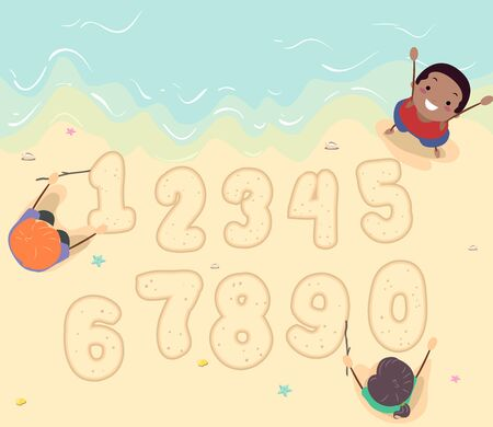 Illustration of Stickman Kids Writing Numbers from One to Zero at the Beach