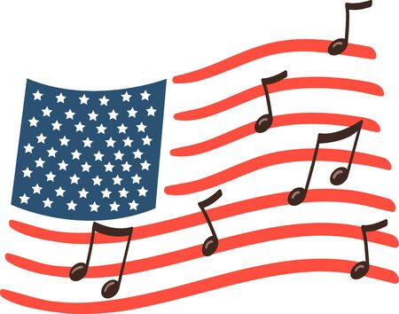 Illustration of the American Flag with Music Notes Imagens