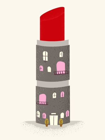 Illustration of a Make Up Store or Building Shaped as a Lipstick