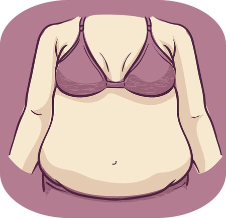 Illustration of a Girl Showing an Increase in Abdominal Fat Stock Photo