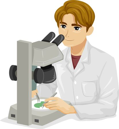 Illustration of a Teenage Guy Using Dissection Microscope in the Laboratory