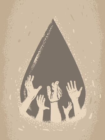 Illustration of Water Drop with Hands Holding Their Hands Up. Water Crisis