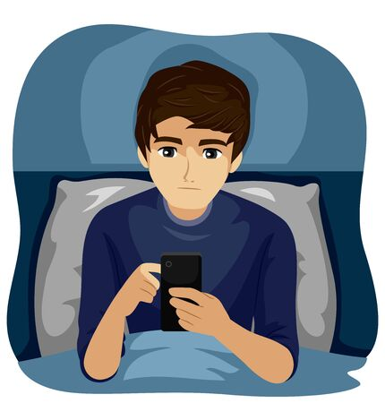 Illustration of a Teenage Guy in His Bed Using His Mobile Phone