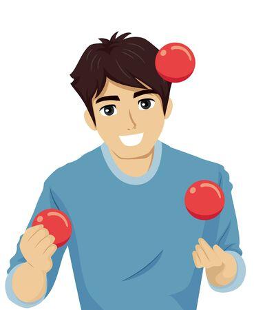 Illustration of a Teenage Guy Juggling Three Red Balls