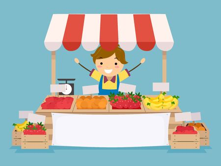 Illustration of a Stickman Kid Boy in His Fruit Stand in a Farmers Market