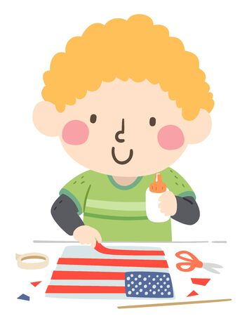 Illustration of a Kid Boy Making an American Flag on Flag Day, Holding Glue and Strip of Red Paper Banco de Imagens