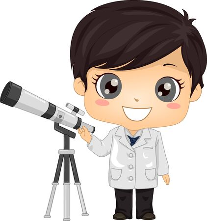 Illustration of a Kid Boy Astronomer Standing with His Telescope