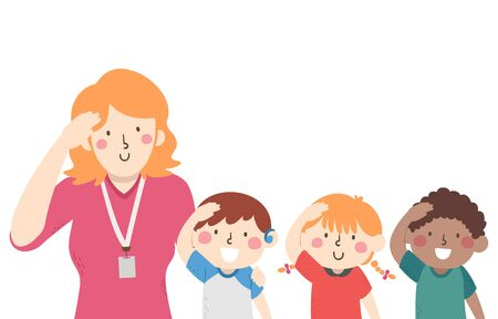 Illustration of Mute Kids and Teacher with Hand on Head, Gesturing Hello