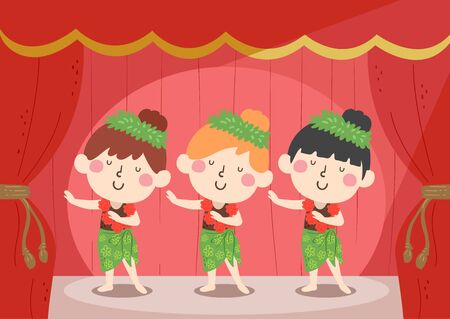 Illustration of Kids Girls Performing Ethnic Dance for Asian, American And Pacific Islander Heritage Celebration
