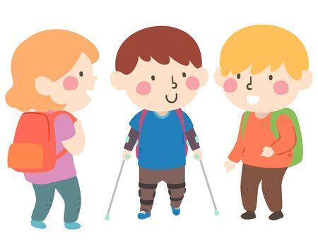 Illustration of a Kid Boy Wearing Leg Braces and Going to School and Greeted by Other Kids Reklamní fotografie