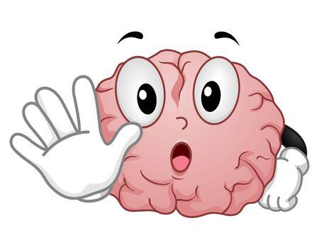 Illustration d'une mascotte du cerveau avec les mains montrant le signal d'arrêt