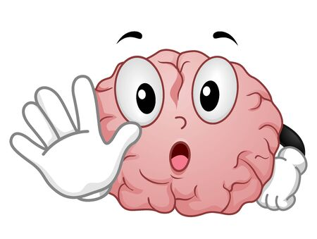 Illustration of a Brain Mascot with Hands Up Showing Stop Signal