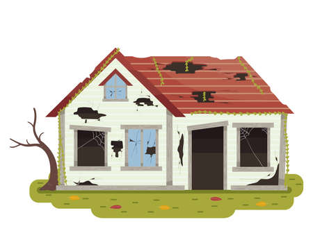 Illustration of an Abandoned House with Broken Door and Windows, Glasses, Roof and Dead Tree Stock Photo