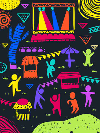 Illustration of Colorful People and Elements In a Festival from Stage Spotlight, Dancing Balloon, Stalls and Buntings