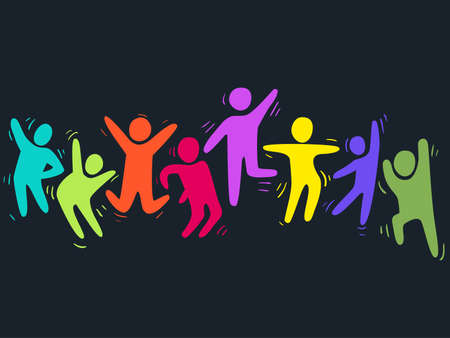 Illustration of Dancing People In Festive Colors