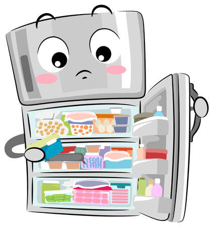 Illustration of a Full and Cluttered Refrigerator Full of Items and Ready for Organization
