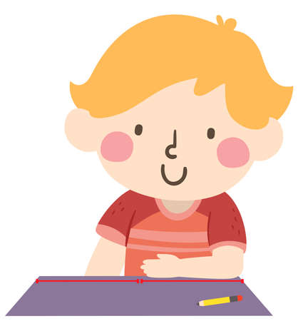 Illustration of a Kid Boy Showing an Arbitrary Non Standard Cubit Measurement on Table