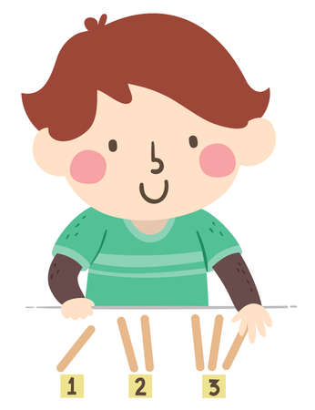 Illustration of a Kid Boy Placing the Right Number of Wooden Sticks on the Numbers 123 Illusztráció