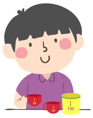Illustration of a Kid Boy Putting Two Cups on the Table That Equal to One Pint