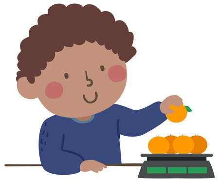 Illustration of a Kid Boy Using Weighing Scale and Measuring Oranges Vektorové ilustrace