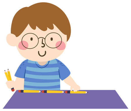 Illustration of a Kid Boy Using Pencils to Measure a Table, Arbitrary and Non Standard Unit of Measurement