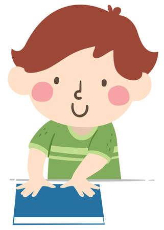 Illustration of a Kid Boy Showing Hand Span, an Arbitrary Non Standard Unit of Measurement Vektorgrafik