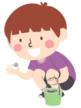 Illustration of a Kid Boy Picking Up and Collecting Rocks and Stones and Placing Them Inside a Pail Vektorgrafik