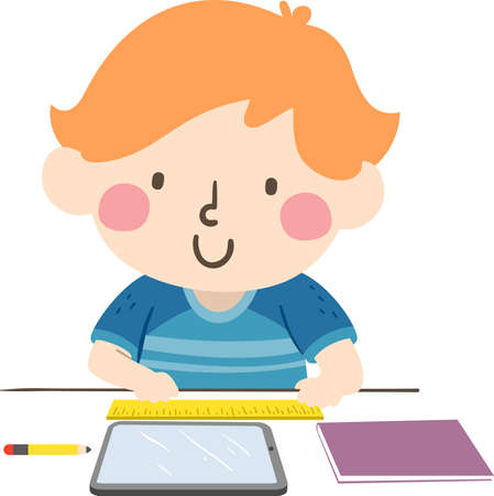 Illustration of a Kid Boy Using a Ruler to Measure Different Things from Pencil, Tablet and Notebook Ilustracje wektorowe