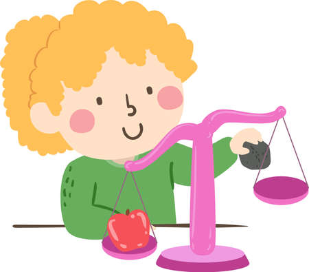Illustration of a Kid Girl Using a Weighing Balance Scale to Measure an Apple and a Rock