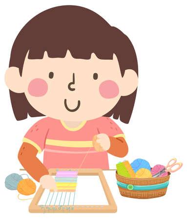 Illustration of a Kid Girl Weaving Using Yarn and Loom