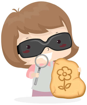 Illustration of a Kid Girl Wearing Sunglasses and Holding Magnifying Glass to Create Solar Pyrography 矢量图像