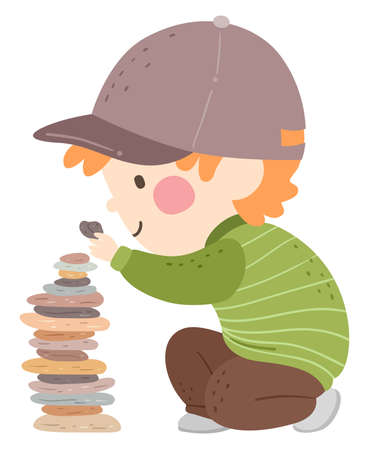Illustration of a Kid Boy Stacking Stones and Making a Stone Tower