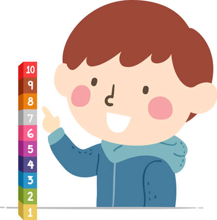 Illustration of a Kid Boy Counting Cubes or Building Blocks from One to Ten