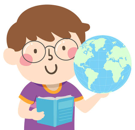 Illustration of a Kid Boy Holding a Globe and an Open Book