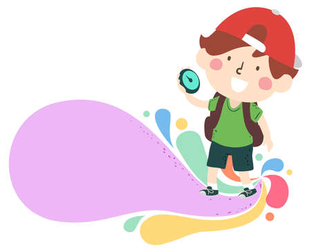 Illustration of a Kid Boy Explorer Holding a Compass with Colorful Swirls Ilustracja