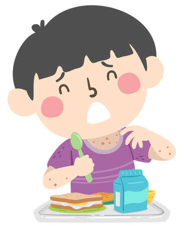 Illustration of a Kid Boy with Rashes from Food Allergy from School Cafeteria