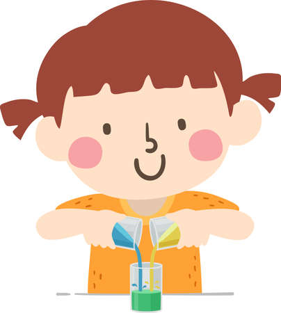 Illustration of a Kid Girl Mixing Two Liquid Colors like Blue and Yellow to Create Green