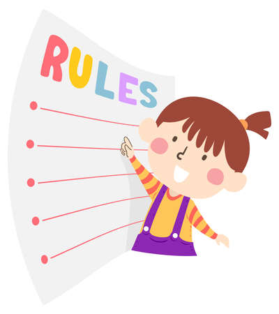 Illustration of a Kid Girl Pointing to a List of Rules Written on Paper